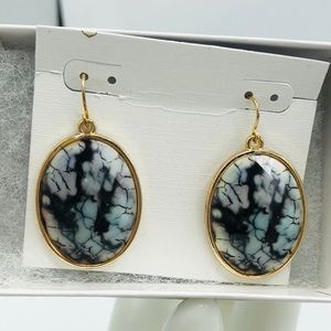 Oval opaque black and white earrings.